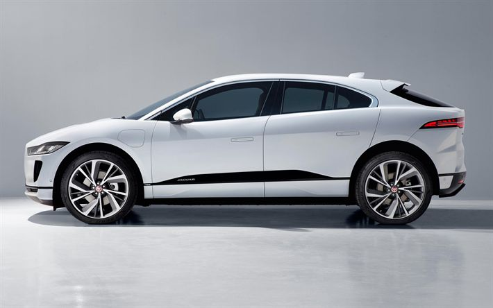 Download wallpapers Jaguar I-PACE, 2019, 4k, side view, electric crossover, new white I-PACE, electric car, Jaguar