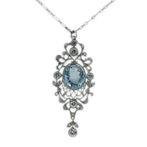 edwardian aquamarine and diamond laviliere