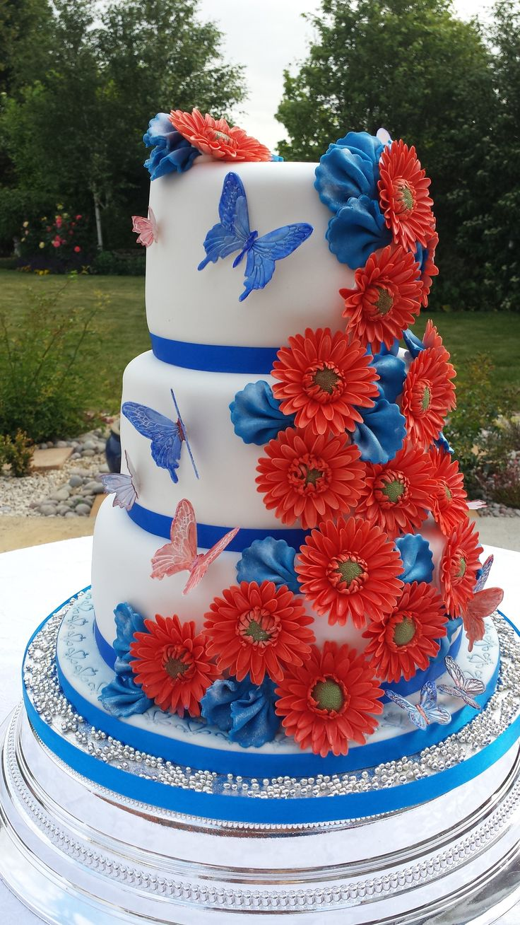 Royal Blue And Red Wedding Cakes