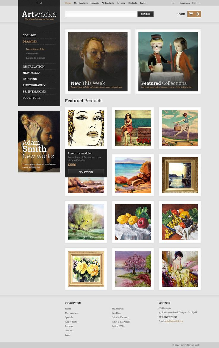 Art Store #ZenCart #Responsive  Template via @medosadvert by @templatemonster #52433