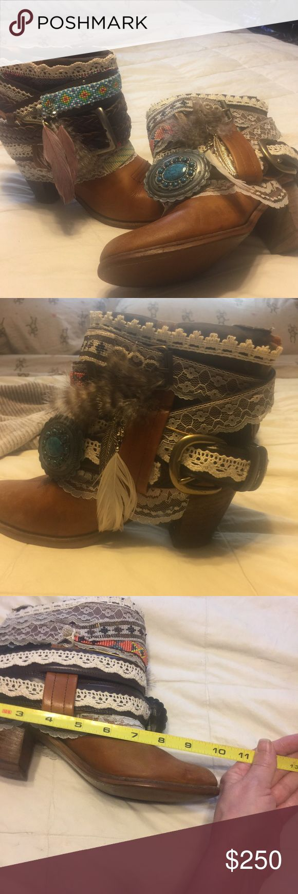 PRICE DROP Customized Western Boots..One Of A Kind I had these ladies western boots customized with Belts, feathers, lace with turquoise accents.  I love these boots.  Paid $287 for boots and then another$259 to have customized.  Unfortunately my feet are swollen from medical treatments and I can not get my foot into them.  My loss your new treasure! If you have any questions, please, ask Shoes Ankle Boots & Booties