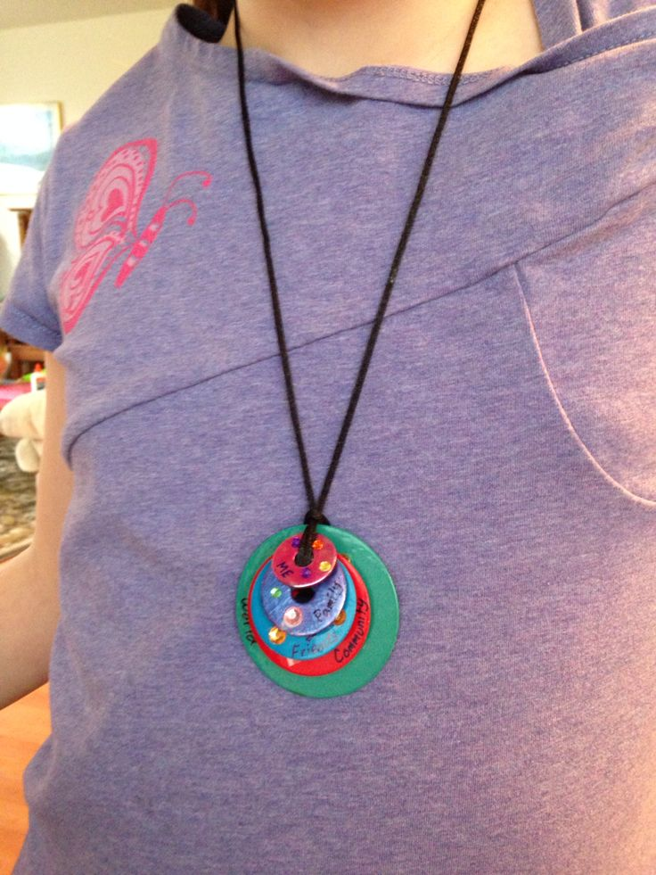 Brownie Girl Scout Journey - Brownie Quest. Circles of Caring necklace.  (Me-Family-Girl Scouts and Friends-Community-World)