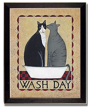 Wash Day Cat Laundry Room Decor Country Art Print Framed