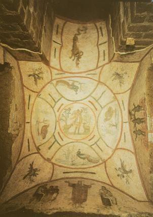Voute du cubiculum de la Velatio, catacombe de Priscille.