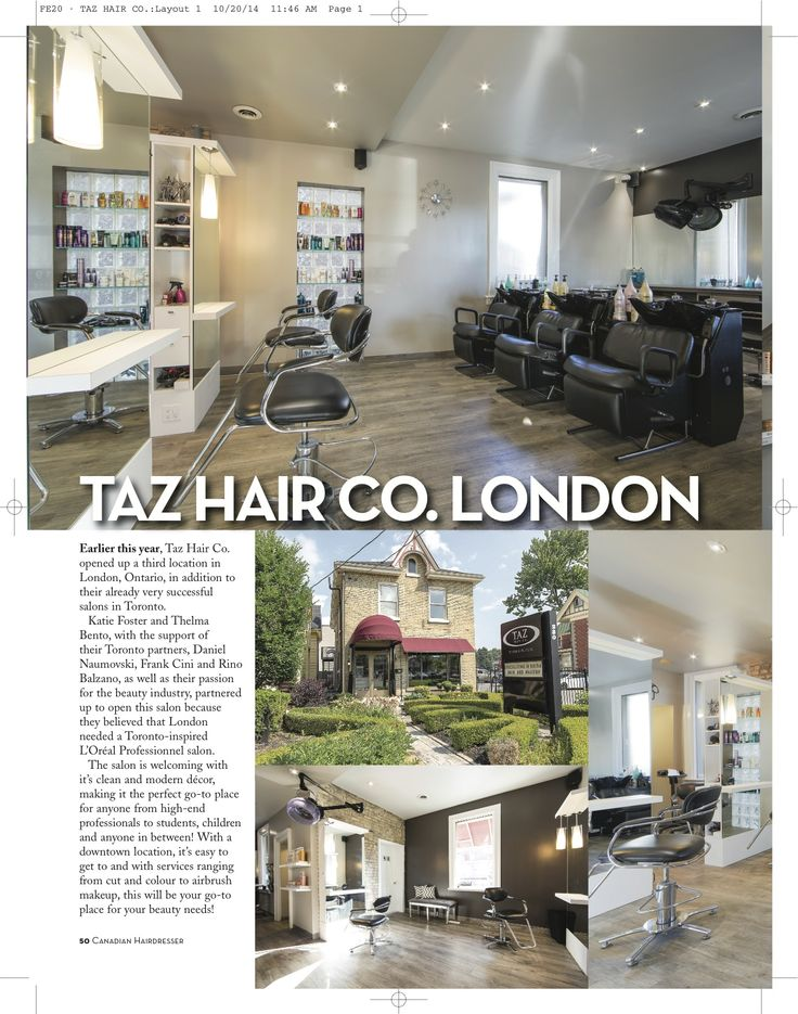 Taz Hair Co. London in Canadian Hairdresser Magazine Page 1