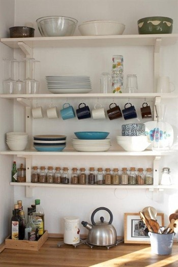 for in between the cabinets?  Kitchen shelving with hooks screwed underneath for holding mugs