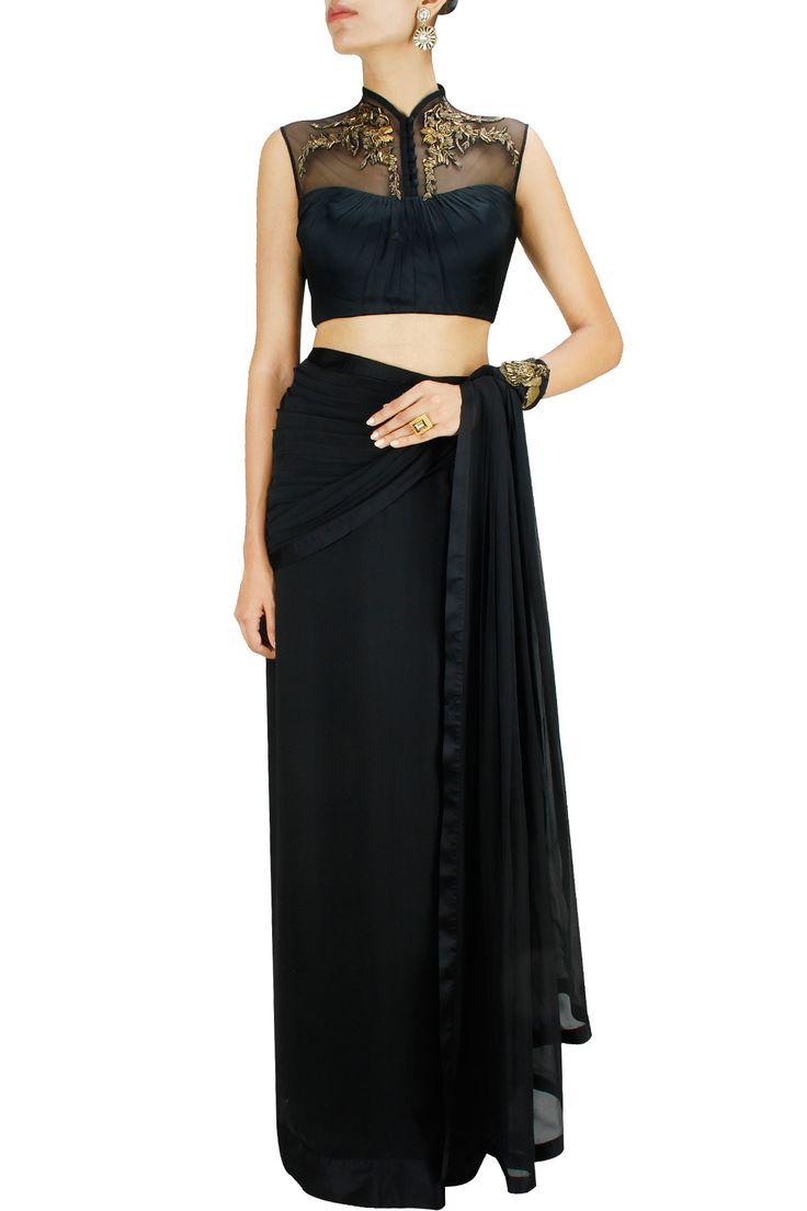 Black metallic floral embroidery sari. BY GAURAV GUPTA. Shop now at: www.perniaspopups... #perniaspopupshop #designer #stunning #fashion #style #beautiful #happyshopping #love #updates