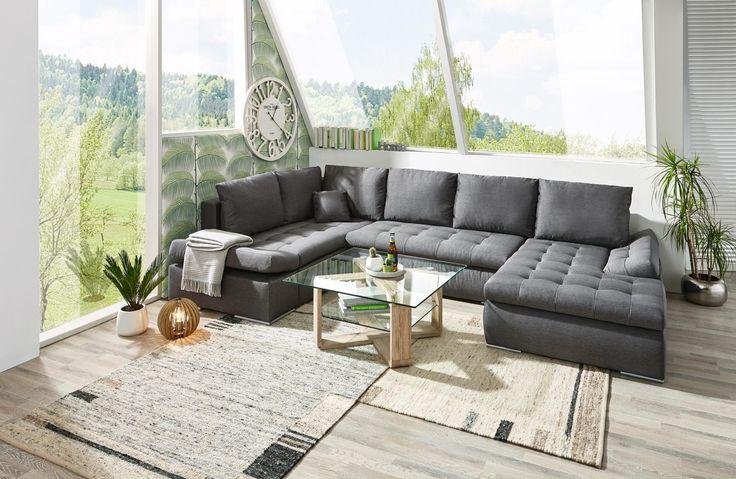 Wohnlandschaft in anthrazit von CARRYHOME Wohnlandschaften - wohnzimmer couch leder