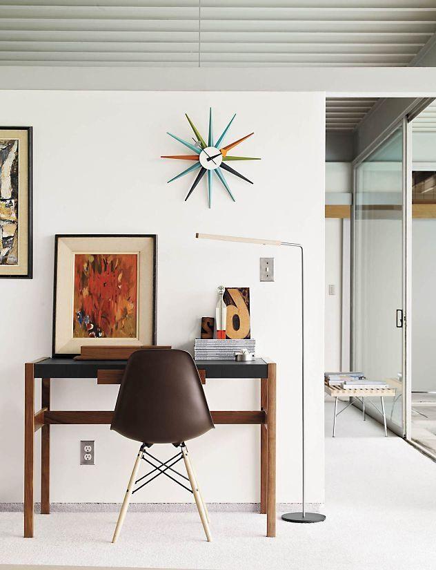 George Nelson Sunburst Clock Multicolor - настенные часы в стиле модерн. Скандинавский модернизм. Дизайн рабочего места. Дизайнерские настенные часы. Скандинавский стиль. Скандинавский декор. Домашний кабинет.