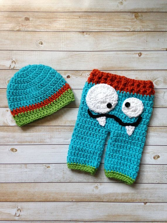 Crochet Monster Pants and Matching Beanie Set by TCSimplyChic, $20.00