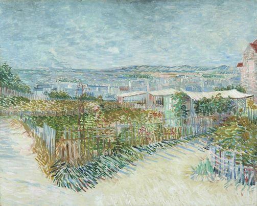 Art of the Day: Van Gogh, Montmartre: Behind the Moulin de la Galette, July 1887. Oil on canvas, 81 x 100 cm. Van Gogh Museum, Amsterdam.