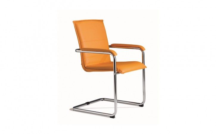 Cubic - Orange Leather Boardroom Chair with Upholstered Arms.