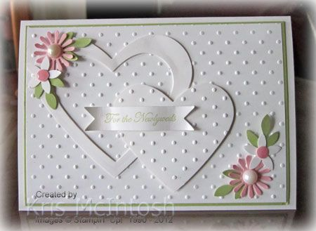 SU! Teeny Tiny Wishes (sentiment) stamp set; Perfect Polka Dots embossing folder; Hearts Collection Framelits; Spring Bouquet Flower punch (retired), Bird Builder punch (leaves); colors are Whisper White, Certainly Celery and Pretty in Pink - Kris McIntosh