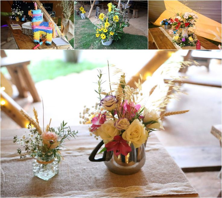 pinata at rustic suffolk wedding, tipi and rustic flowers