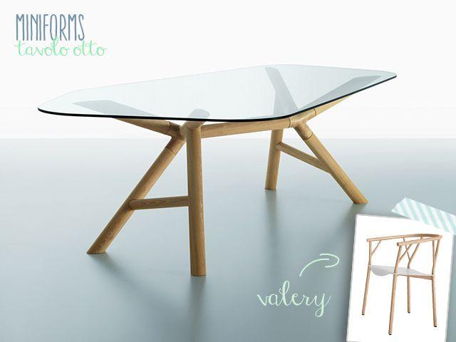 Miniforms tavolo Otto e sedia Valery legno immagine.