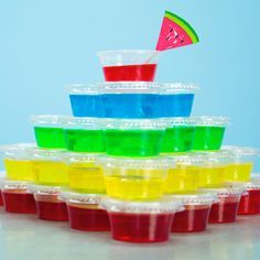 "Basic Jello Shots | MyRecipes.com  ""What's better than jello? Jello shooters. Pro-tip: The best jello shots use flavored vodka instead of regular vodka to create fun flavor pairings!"""