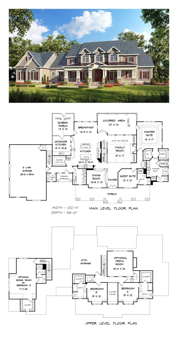 country craftsman farmhouse southern traditional house plan 58272 - Large House Plans