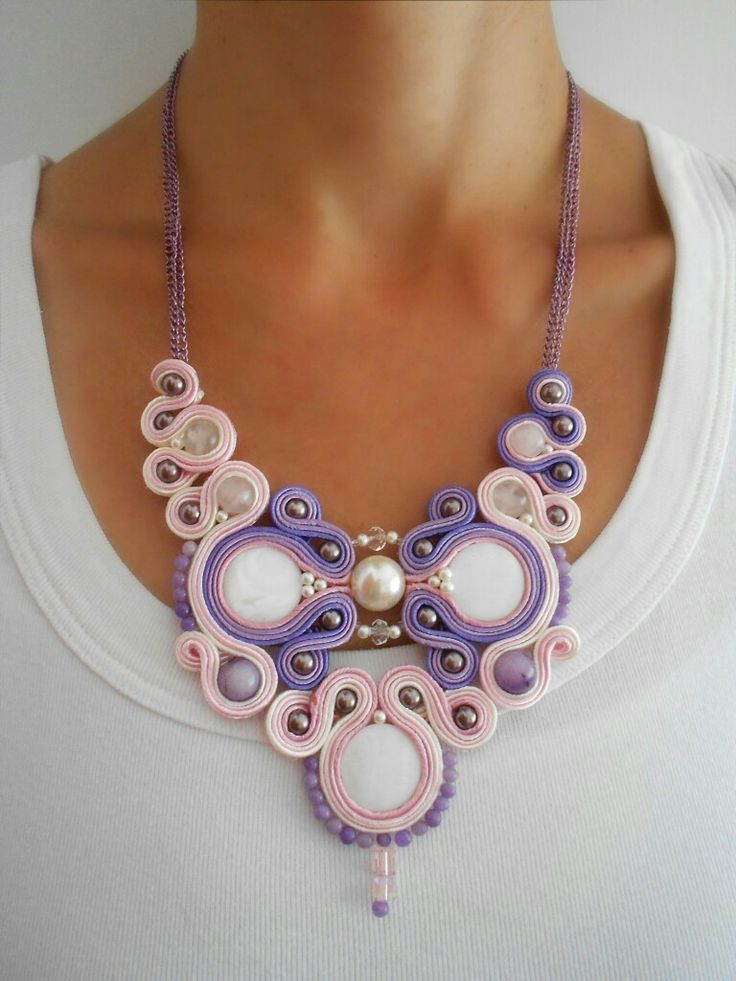 'Whisper' ooak soutache necklace, artistic jewelry, original design, jewelry artwork, modern jewelry, unique design