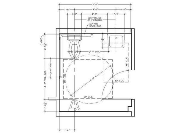 Single Accomodation Toilet With Door Encroachments Ada Bathroom