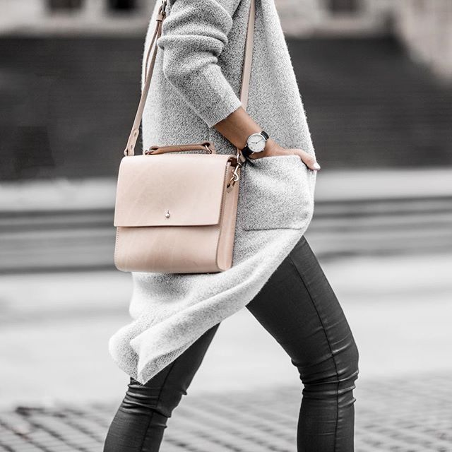 Grey coat, natural leather shoulder bag + leather trousers | @styleminimalism