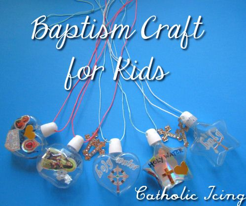 Totally doing this with my big kids before the next family baptism! baptism craft- holy water bottle necklace