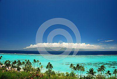 Tahiti view from Moorea. French Polynesia