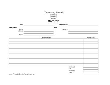 A printable job invoice with plenty of room to describe each billable element of the work. It is designed in landscape orientation and has lines. It is available in PDF, DOC, or XLS (spreadsheet) format. Free to download and print