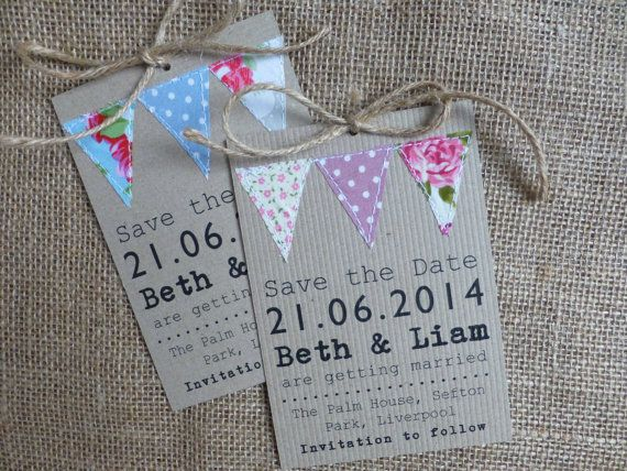 Save the Date tag, Bunting - Wedding - handmade - fabric - kraft card - rustic twine