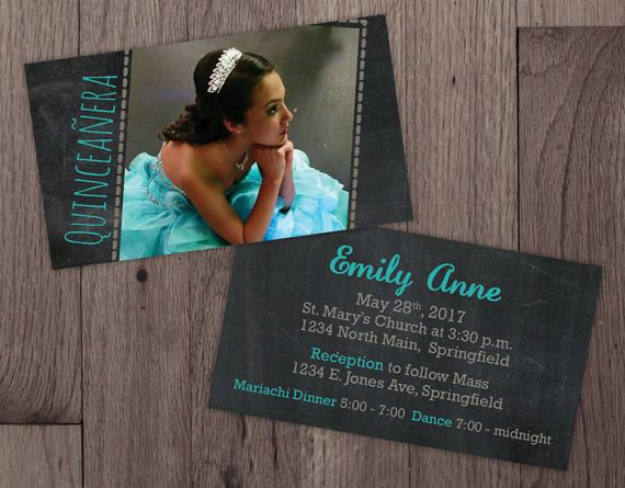 Mini Quinceañera Invitations with Photo Double Sided with