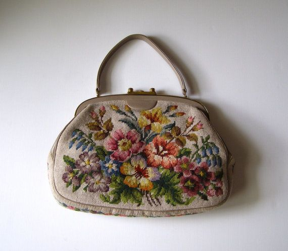 grand sac vintage en tapisserie aux petits points -  fait main -  Bag French Tapestry Embroidery Vintage Handmade
