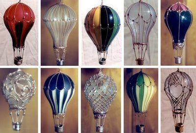 Re-purpose lightbulbs into hot-air-balloon ornaments