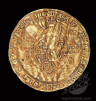 """""""Rare English Coin, Gold Ryal, Queen Mary (Bloody Mary) in ship with sword and shield, 1553-1554"""""""