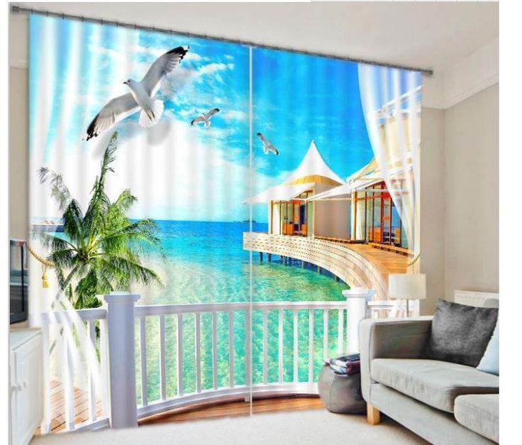 $ 23 Индивидуальные 3D шторы Природа окно шторы пляж пейзаж шторы для гостиной купить на AliExpress