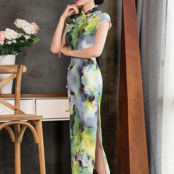 One Piece Long Cheongsams Dress For Women Wedding Party Mandarin Collar Bird-and-flower Sexy Vintage Retro Dress Vestido Longo