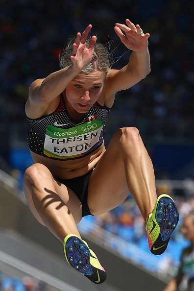 Brianne Theisen Eaton of Canada competes in the Women's Heptathlon Long Jump on…