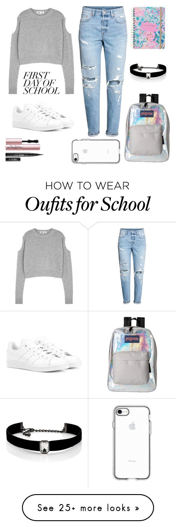 """Back to school"" by allfuckit on Polyvore featuring McQ by Alexander McQueen, H&M, adidas Originals, JanSport, Too Faced Cosmetics, Kenneth Jay Lane, Lilly Pulitzer and BackToSchool"