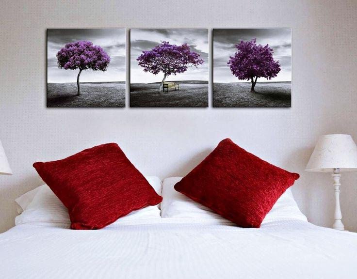 3 quadri moderni alberi viola cm 50x50 (new20)