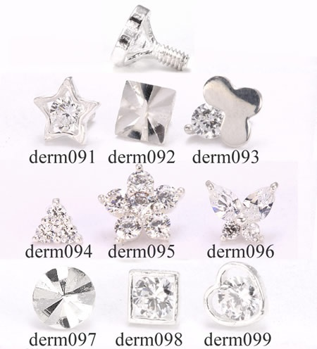 Sterling Silver Internally 1.2mm(14g) Threaded Various Style Ends - Pick Your Style :: Dermal Anchor Tops :: MicroDermal Anchors :: Painful Pleasures, Inc.