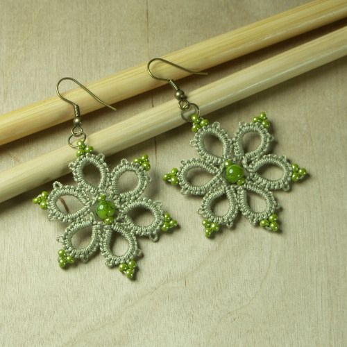 Love the addition of beads for the picots. http://cro-tat.blogspot.it/2010/07/oliwkowe-kolczyki.html