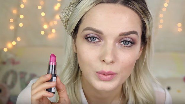 Trendy Makeup Tips :    Picture    Description  Nyx Cosmetics Lipstick in Sweet Pink | Spring Makeup Tutorial for Acne-Prone Skin, check it out at makeuptutorials.c…