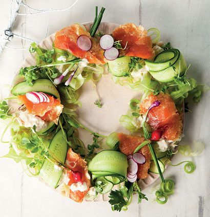 Oak-smoked trout salad wreath-for a very fancy presentation of smoked salmon