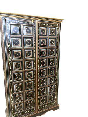 ANTIQUE-FLORAL-PAINED-DOORS-RAJASTHAN-BLACK-ARMOIRE-WARDROBE-INDIAN-FURNITURE  http://stores.ebay.com/mogulgallery/Armoires-/_i.html?_fsub=1109606019&_sid=3781319&_trksid=p4634.c0.m322
