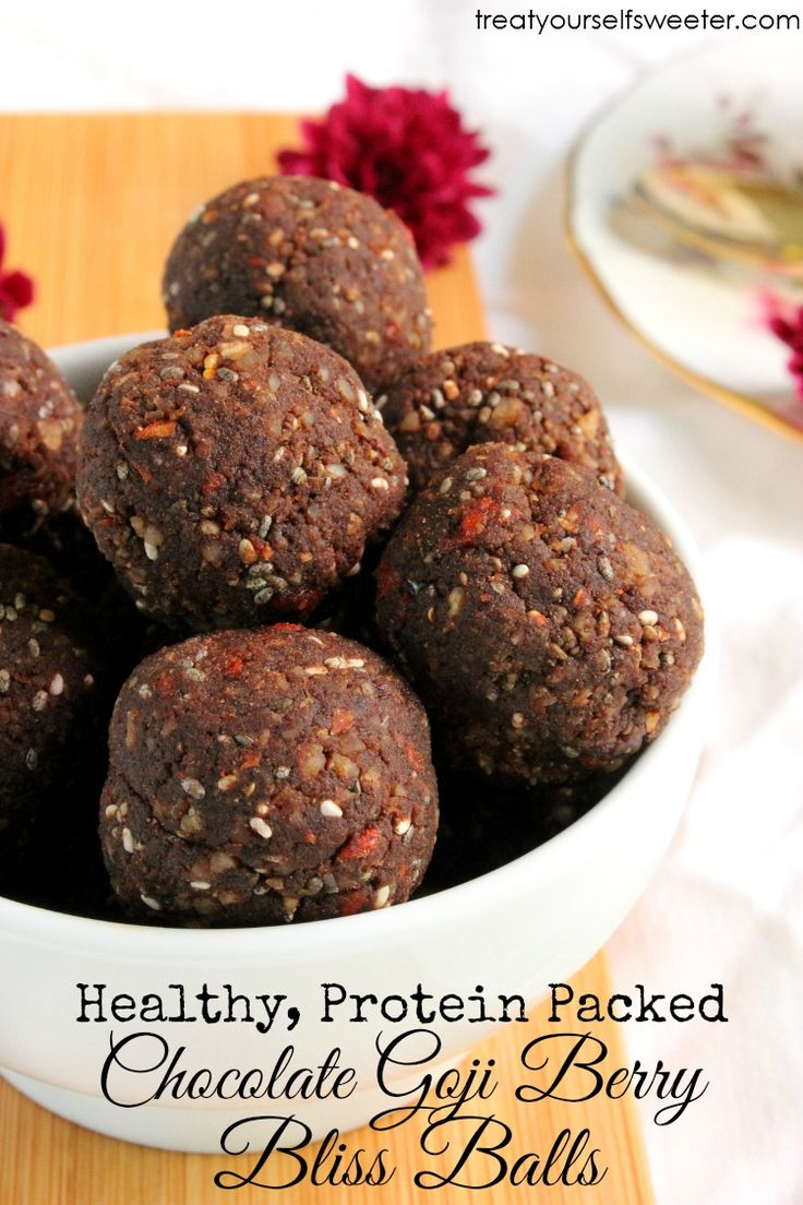 Chocolate Goji Berry Protein Bliss Balls; sweet, crunchy chocolate flavoured bliss balls. With no refined sugar, they are protein packed and perfect for a snack
