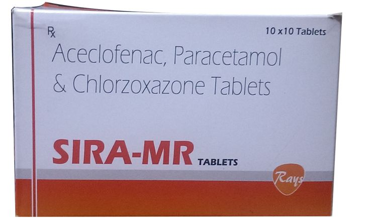 Aceclofenac 100 mg + paracetamol 325 mg + chlorxazone 250 mg   #rays #pharmaceuticals #rayspharmaceuticals