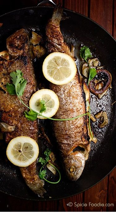 LEMON GARLIC-STUFFED PAN-FRIED WHOLE BROOK TROUT [spiciefoodie]