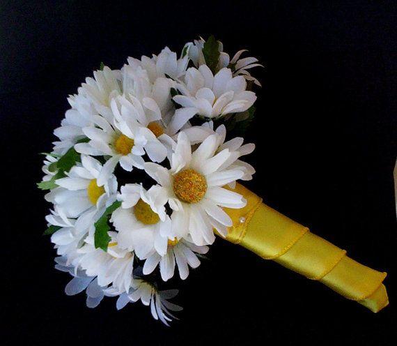 Daisy Bridal Bouquet yellow bridal party by BudgetWeddingBouquet