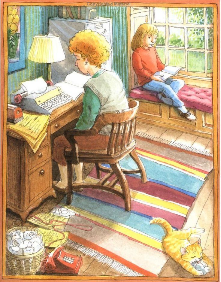 """""""If You Were a Writer"""" by Joan Lowery Nixon, illustrated by Bruce Degen, 1988 (http://www.amazon.com/Were-Writer-Joan-Lowery-Nixon/dp/0689719000/ref=sr_1_14?s=books=UTF8=1374866763=1-14)"""