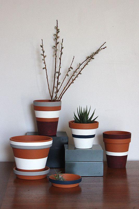 DIY Painted Pots   Lonny.com