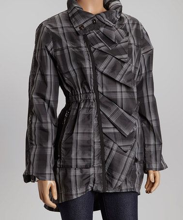 Another great find on #zulily! Black & Olive Plaid Amadeus Jacket by G.E.T. #zulilyfinds