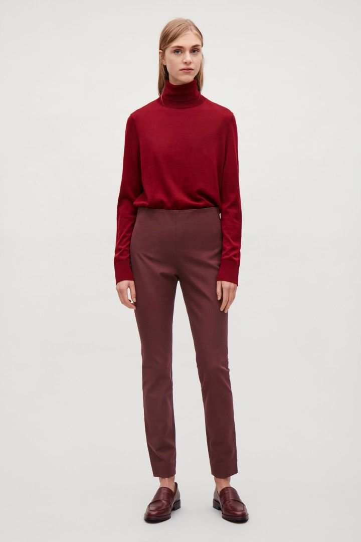 COS image 1 of Slim cotton-twill trousers in Burgundy